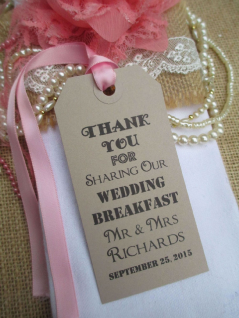 10 Wedding Table Place Setting Tag  Wedding Breakfast Napkin Tie Personalized 108 x 54mm
